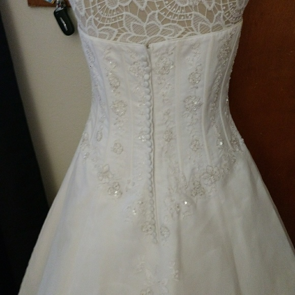 David\'s Bridal Dresses & Skirts | White Sequin Wedding Dress With ...